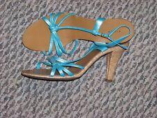 womens fioni blue tone side strap cork heel shoes size 8 1/2