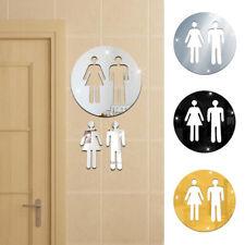 FX- 3Pcs 3D Mirror Toilet Restroom WC Men Women Removable Art Wall Stickers Raki