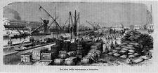 Stampa antica EGITTO ISMAILIA mercanzie SUEZ 1869 Egypt Old Print