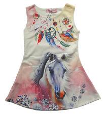 Mädchen Kleid Kinder Sommerkleid Kleider Tunika Shirt 104 - 158 Pferd Pferde