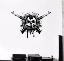 Wall Decal Skull Skeleton Weapon Ammunition Army Vinyl Sticker (ed681)