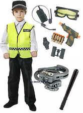 Chicos Niño Niñas policía policía Fancy Dress Costume Radio, Pistola, truncheon, Puños