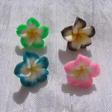 4 fleurs exotiques choix frangipanier perles fimo rose vert marron 15x9mm *F132