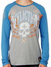Affliction SAINTS FLAG  Men's Long Sleeve Raglan Shirt A5525 Silver Gray / Blue