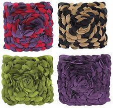 Pétalo Floral Efecto 3D dos tonos Cushion Covers púrpura Cal Negro 43 cm X 43 Cm