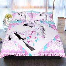 3D White Unicorn 55 Bed Pillowcases Quilt Duvet Cover Set Single Queen King AU