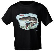 T-Shirt unisex S M L XL Shirts Fisch Angler Fische Hecht 09815