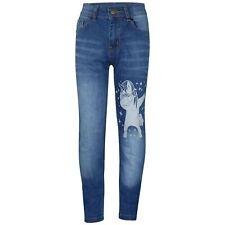 Kids Girls Jeans Unicorn Dab Light Blue Denim Stretchy Pants Fit Trouser 5-14 Yr