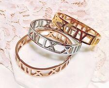 Women's Fashion Jewelry Roman Numeral Bracelet Bangle [gold/ rose gold/ silver]