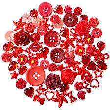 50pcs Rosso Abbellimenti Perle Gemme Cabochon Bottoni Scrapbooking Craft