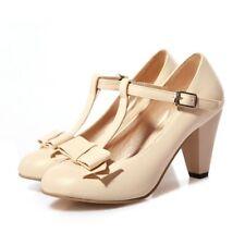 Girl Womens Kitten Hight Heel T Strap Bar Mary Jane Hot Vintage Pump Sweet Shoes