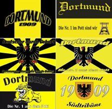 Dortmund 6er!!! SET Südtribüne Nr.1 Fahne Fahnen Fanflagge Fußballfahne Flaggen