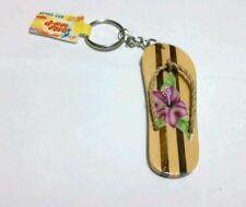 Airbrushed FLIP FLOP Flower Purple Beach Ocean ZIPPER PENDANT Wood Keychain