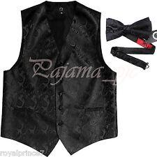 Black Paisley Vest Waistcoat & Bow tie Formal Wedding Prom Tuxedo Suit