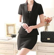 Elegante Tailleur completo donna nero bianco giacca manica corta gonna  7142