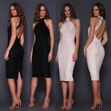 Designer Elle Zeitoune Halterneck Lace Bodycon Backless Cocktail Party Dress