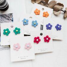 Women Girls Kids Cute PVC Flower Earrings Resin Ear Studs Earring Jewelry Gifts