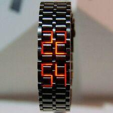 Fashion Black Full Metal Digital Lava Wrist Watch Men Red/Blue LED Display Men's