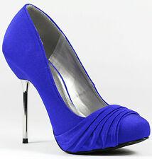 Cobalt Blue Lycra Pleated Almond Toe Metallic High Stiletto Silver Heel Pump
