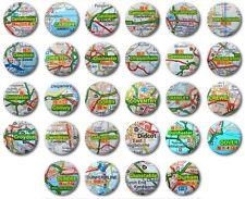 "MINI FRIDGE MAGNET - UK TOWNS & CITIES (Various Designs) -  1"" / 25mm - (C-D)"