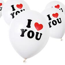 White 'I Love You' Valentine's Day / Wedding / Anniversary Latex Balloons