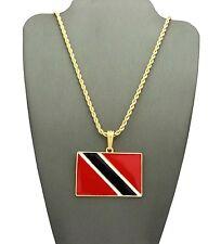 "NEW TRINIDAD & TABAGO FLAG PENDANT & 24"" BOX/CUBAN/ROPE CHAIN NECKLACE - XTP63G"