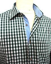 Trachtenhemd grün weiss kariert Baumwolle  XS bis 5XL Klassiker Neues Design