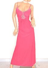 ABITO LUNGO elegante ROSA FUCSIA strass cristalli vestito da sera cerimonia E135