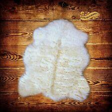 FUR ACCENTS Sheepskin Accent Pelt Rug Faux Fur Throw Off White Polar Bear