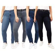 Ladies Plus Washed & Faded Skinny Fit Stretch Denim Tonal Stitching Jeans Pants