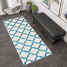 New Modern Hallway Runner Rugs Quality Cheap Floor Mats in White / Blue
