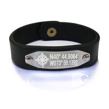 GPS Coordinate Leather Bracelet   Longitude Latitude Leather Bracelet