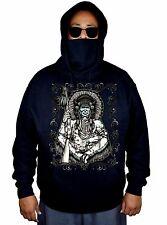 Men's Native Indian Chief Mask Black Fleece Hoodie American Biker Jacket Sweater