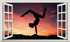 Yoga Mind and Body Fitness 3D Magic Window Adhesive Vinyl Wall Art Sticker V2*