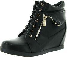 Top Moda Womens Peter-30 Lace Up High Top Hidden Wedge Sneaker Shoes