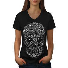 Head Face Bicycle Skull Women V-Neck T-shirt NEW | Wellcoda