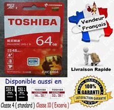 48 MB/s TOSHIBA EXCERIA Carte Mémoire Class10 MicroSD SDXC 64 Go ou 4 8 16 32 Gb