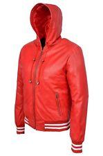 NUOVI Pantaloncini Uomo Rosso Classico Con Cappuccio Stile Baseball Bomber Reale NAPA LEATHER JACKET COAT
