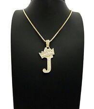 "Iced Out Tilted Crown Alphabet J Pendant 24""Various Chain Hip Hop Necklace XZ182"