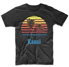 Retro Style Kauai Hawaii Sunset Palm Trees Beach Vacation T-Shirt