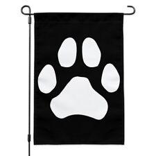Paw Print Dog Cat White on Black Garden Yard Flag