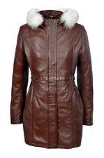 SYLVIA Ladies Brown Trench Mid Length Fur Hooded Designer Leather Jacket Coat