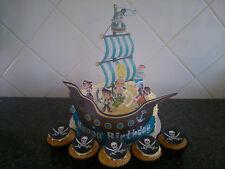 Personalised Pirate Ship Edible Wafer Cake Decoration Jake or Peter Pan
