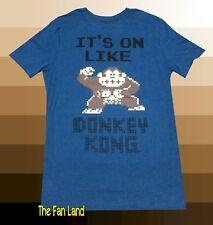 New Nintendo Donkey Kong 8-Bit Its on like Men's 1981 Blue Vintage T-Shirt