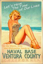 VENTURA  COUNTY Naval Base California Surf Poster Pacific Pin Up Art Print 241