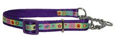 "purple pink picture  half check choke martingale medium dog training collar 3/4"""