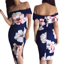Vestito donna elegante floreale sexy abito aderente scollato estivo nuovo  D61577 8d478e3fd84