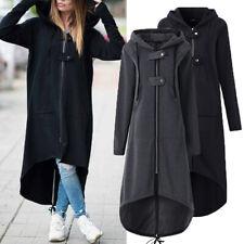 Women Hooded Jacket Long Sleeve Long Solid Coat Pockets Irregular Tops Soft