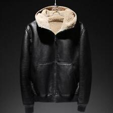Mens Hooded Fur Lined Loose Coat Jacket Zip Leather Warm Winter Motor Chic Black