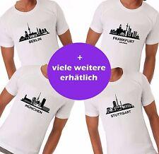 Städte City Souvenir T-Shirt Skyline München Berlin Frankfurt Fussball Fan Shirt